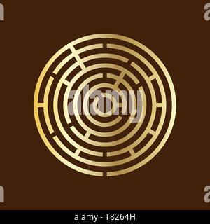 Jeu de Labyrinthe Labyrinthe d'or ronde illustration vecteur EPS10 Banque D'Images
