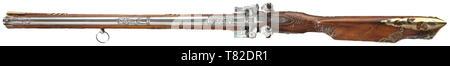 """Un fusil à silex et sous-Allemand du Sud/Souabe, vers 1780. Bon canon octogonal de 12 mm avec les Canon muselières, l'un supérieur équipé d'un guidon d'argent. Chaque canon décoré de couper finement trois figures féminines allégoriques, en haut, les racines de la barils marqué de façon illisible et ciselées également. Flintlocks légèrement ciselés avec lockplates incurvé, poli, marquée """"RIR' sous le frizzen springs. En bois sculpté finement et florally stock complet avec meubles en laiton ajouré. Baguette en bois avec embout en laiton. Le Additional-Rights Clearance-Info-trigger,-Not-Available"""