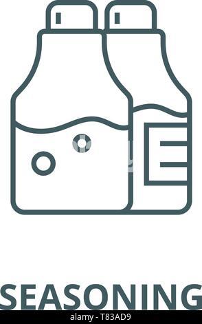 L'assaisonnement de sel et poivre, l'icône de la ligne du vecteur linéaire, concept, contours affiche, symbole Banque D'Images