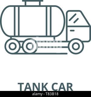 L'icône de la ligne du vecteur de wagons-citernes, concept linéaire, contour affiche, symbole Banque D'Images