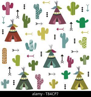Tente et motif cactus