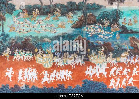 Cambodge, Phnom Penh, la Pagode d'argent, scène du mur peinture murale représentant l'épopée indienne Ramayana ou Reamker Banque D'Images