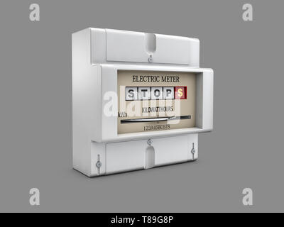 3d illustration de compteur électrique sur fond gris. Banque D'Images