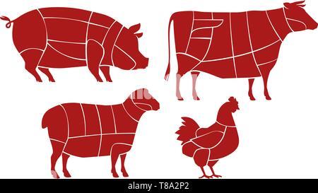 Système de découpe de la viande. Butcher shop concept. Les animaux de ferme vector