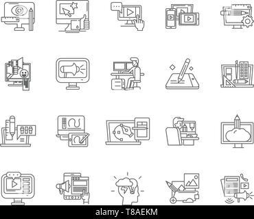 La ligne d'animation par ordinateur icônes, signes, vector set, contours concept illustration Banque D'Images