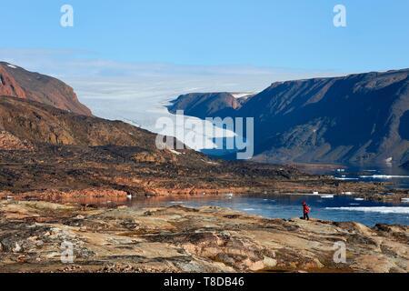 Le Groenland, côte nord-ouest, le détroit de Smith au nord de la baie de Baffin, la terre d'Inglefield, site d'Etah, aujourd'hui abandonné le camp inuit qui a servi de base à plusieurs expéditions polaires Banque D'Images