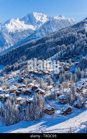 France, Savoie, Tarentaise, La Tania est une des plus grandes station village de France, au coeur des Trois Vallées (Les Trois Vallées), l'un des plus grands domaines skiables au monde avec 600 km de sentiers balisés, partie ouest du Massif de la Vanoise, vue sur le Grand Bec Peak (3398m) dans le Parc National de La Vanoise (vue aérienne) Banque D'Images