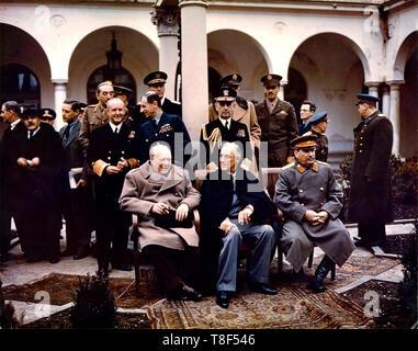 Conférence de Yalta 1945: Churchill, Roosevelt, Staline. Banque D'Images