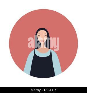 Jeune femme asiatique aux cheveux noirs regarde Belle élégante