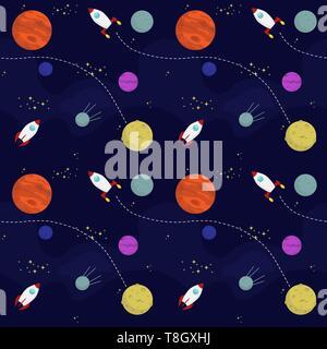 Télévision transparente modèle d'espace vectoriel avec les planètes et vaisseaux spatiaux voyageant dans l'univers Banque D'Images
