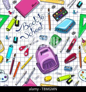 Modèle transparent avec des fournitures scolaires. Pour votre conception d'illustration vectorielle Banque D'Images