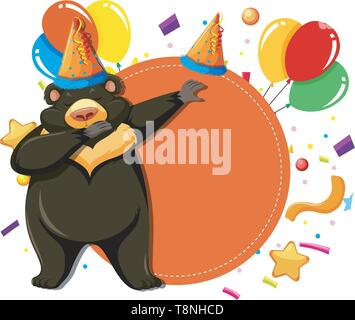 Ours orange anniversaire carte template illustration