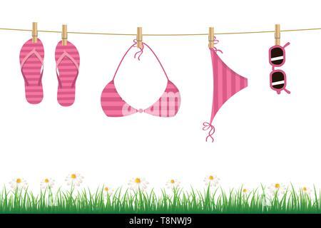 La pendaison rose flip flop bikini et lunettes de soleil sur une corde fleur daisy et d'herbe sur fond blanc vector illustration EPS10 Banque D'Images