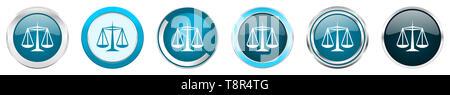 La justice argent métallisé chrome border icônes de 6 options, l'ensemble de boutons rond bleu web isolé sur fond blanc Banque D'Images