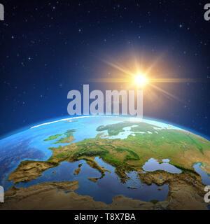 Surface de la planète Terre vue d'un satellite, l'accent sur l'Europe, soleil qui brille dans l'espace lointain. Illustration 3D - Éléments de cette image fournie Banque D'Images