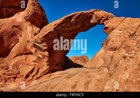 Arch Rock et structures de la pierre dans la Vallée de Feu State Park, Nevada, USA, Amérique du Nord