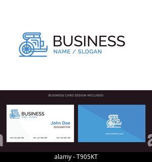 Char, chevaux, vieux, Prince, la Grèce Blue Business logo et carte de visite modèle. Design avant et arrière Banque D'Images