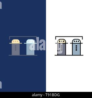 Sel, papier, bouteille, épices d'icônes. Télévision et ligne rempli Icon Set vector Blue Background Banque D'Images