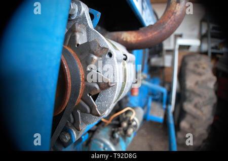 Extreme close-up shot du levier sur un tracteur. Banque D'Images
