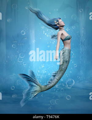 Jeune sirène plongée dans un vieux temple sous-marin scenery Banque D'Images