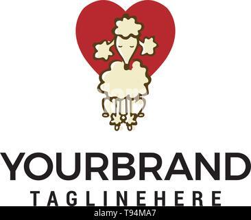 Logo coeur chien concept design template vector Banque D'Images