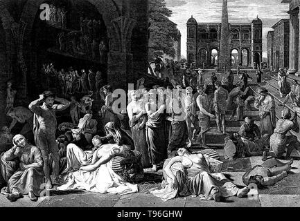 La peste d'Athènes était une épidémie qui a ravagé la ville-état d'Athènes dans la Grèce antique au cours de la deuxième année de la guerre du Péloponnèse (430 BC) lorsqu'une victoire athénienne semblait toujours à portée de main. Il est soupçonné d'avoir saisi par le biais d'Athènes Le Pirée, le port de la ville et l'unique source de nourriture et de fournitures. Thucydide déclare que les personnes craignant la loi a cessé depuis qu'ils se sentaient déjà vivant sous une sentence de mort. De même, les gens ont commencé à dépenser de l'argent sans discernement. Banque D'Images