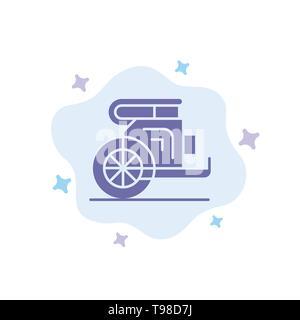 Char, chevaux, vieux, Prince, Grèce Résumé icône bleue sur fond de nuage Banque D'Images