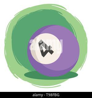 La boule de billard numéro 4 quatre vector illustration isolé sur fond blanc vert Banque D'Images
