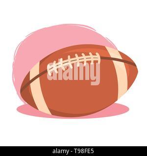 Ballon de Rugby Football américain isolé sur fond blanc rose vector illustration
