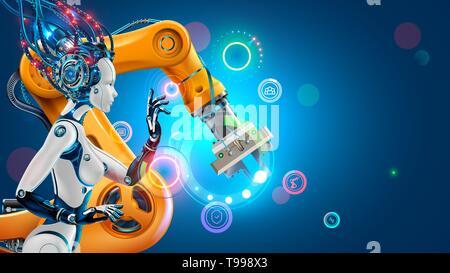 L'intelligence artificielle d'automatisation d'usine de l'industrie travaille avec des bras robotiques. Robot ou femme cyborg avec ai fabrication industrielle de commande via Banque D'Images
