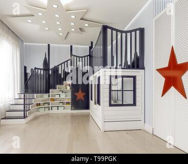 Design intérieur moderne chambre à coucher pour enfants, chambre enfants, jeux pour enfants, avec lits doubles et escaliers comme ville château avec décoration sur murs rayés, 3D render Banque D'Images