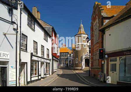 Dorset UK,,Lyme Regis,rue Bridge et musée Banque D'Images