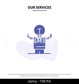 Notre activité de services, l'amélioration, l'homme, la personne, l'icône glyphe solide potentiel modèle de carte Web Banque D'Images