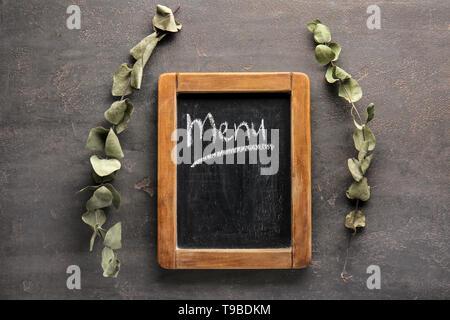 Panneau de menu sur table gris Banque D'Images