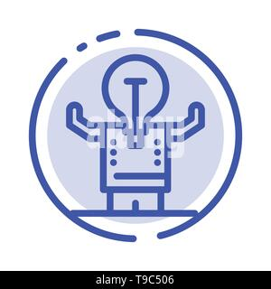 Les entreprises, l'amélioration, l'homme, personne, potentiel sur l'icône de la ligne en pointillé bleu Banque D'Images