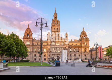 Glasgow City Chambers et George Square à Glasgow, Ecosse Banque D'Images