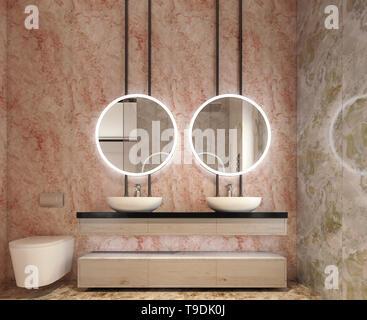 Design intérieur moderne de la vanité de salle de bains, tous les murs en pierre dalles avec miroirs cercle, minimaliste et clean concept, rendu 3D Banque D'Images