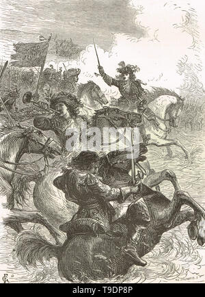 Le roi Guillaume III d'Angleterre à cheval à la bataille de la Boyne 1690 Banque D'Images