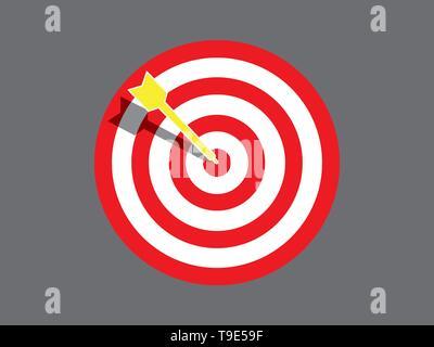 La carte cible avec la flèche dans le centre de l'illustration. Banque D'Images