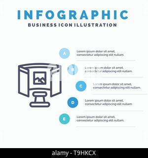 Avenir, lunettes, de la science, de la technologie avec l'icône de la ligne de 5 étapes présentation des infographies Background Banque D'Images