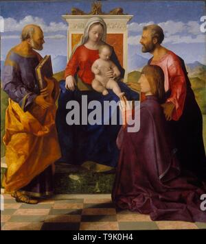 Vierge à l'enfant avec Saint Pierre, Saint Mark et un donateur. Musée: Royal Academy of Arts, Londres. Auteur: Giovanni Bellini. Banque D'Images