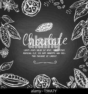 Templatre au chocolat avec à la main les cabosses de cacao et d'autres éléments Banque D'Images