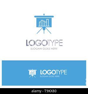 Présentation PowerPoint, tableau noir, bleu, Rapport logo et