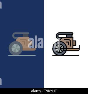 Char, chevaux, vieux, Prince, la Grèce d'icônes. Télévision et ligne rempli Icon Set vector Blue Background Banque D'Images