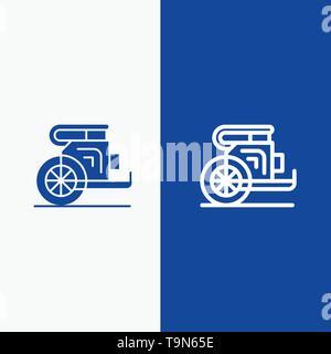 Char, chevaux, vieux, Prince, la Grèce et l'icône Ligne Glyph bleu solide ligne de bannière et glyphe icône solide bandeau bleu Banque D'Images