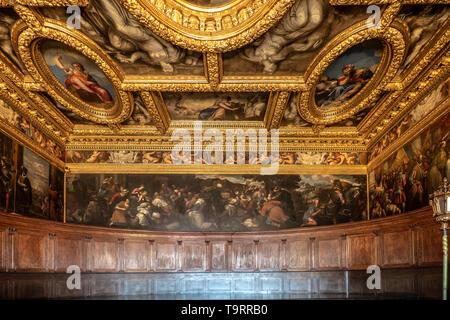 Venise, Italie - 18 Avril 2019 La Chambre du Conseil de dizaines au Palais des Doges. Détail de la peinture.