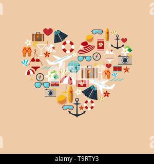 Résumé du symbole du cœur de l'été les icônes colorées télévision isolé sur le vecteur de fond pastel pour la conception Banque D'Images