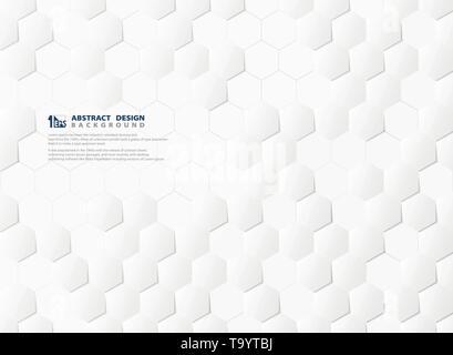 Résumé motif hexagonal technologie 3d et blanc fond gris. Vous pouvez utiliser pour imprimer des affiches, illustrations, Publicité, conception de la technologie de pointe, design futuriste. Banque D'Images