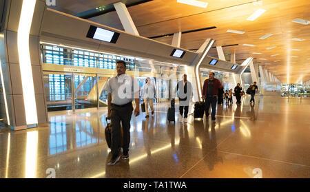 Intérieur de l'Aéroport International Hamad à Doha, Qatar