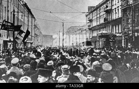 Manifestations à l'approche de la révolution de février. Banque D'Images